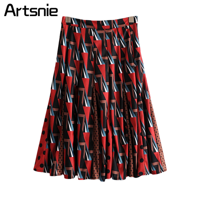 Artsnie High Street Geometric Print Maxi Long Skirts Women Spring Casual Streetwear Saias Ladies Pleated Skirts Jupe Femme Mujer