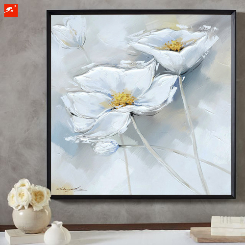 White Flower Wall Picture  Handmade Hand painted Oil Painting On Canvas  For  Living Room Hanging