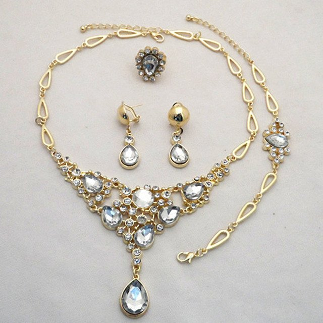 Good Quality!Gold Color White Crystal Drop Pendent Necklace Earrings Bracelet Ring Jewelry Sets FOR BRIDAL
