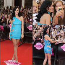 Katy Perry Blue Color Red Carpet Sequins One Shoulder Sexy Imitation Celebrity Bandage Bodycon Dress Wholesale