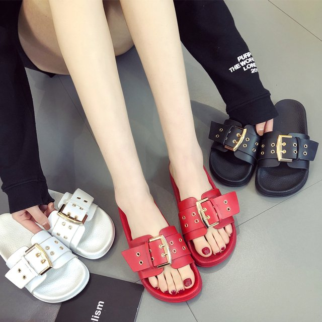 Woman summer slippers 2018 Buckle female slippers leather home lady shower beach slippers flip flops slide slippers woman