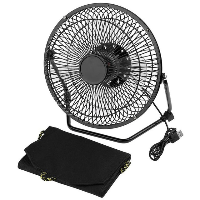 8 Inch Iron USB Cooling Fan With 7W Foldable Solar Panel Powered Powerbank For Home Office Outdoor Traveling Fishing Air Cooler