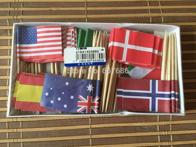 Wholesale 1800 Pieces Flag Picks 6.5cm, Free Shipping Wooden Bamboo Flag Toothpicks Disposable Cocktail Party Sticks Supplies