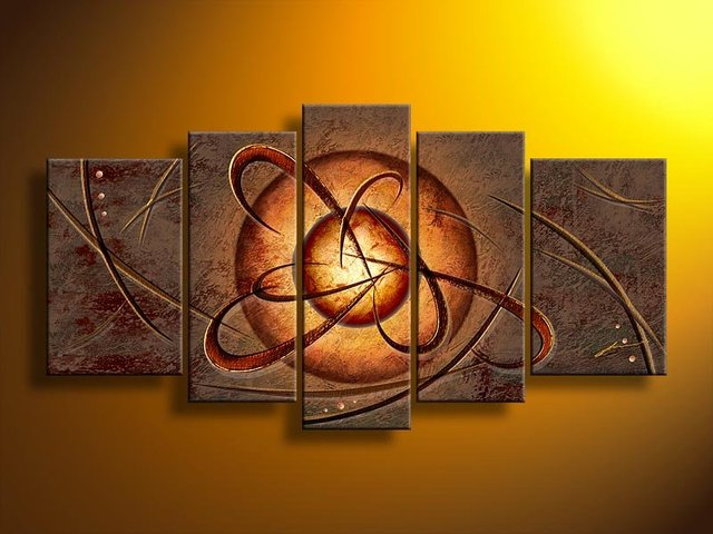 hand-painted wall art Universe circle Home Decoration Modern Landscape Oil Painting on canvas  5pcs/set mixorde wood  Framed