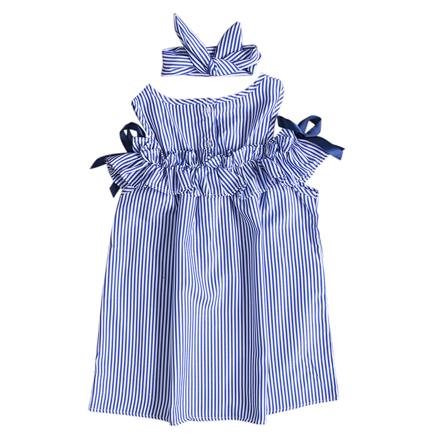 Toddler Kids Baby Girls Dress Summer Clothes Striped Off-shoulder Party Gown Formal Dress Bow Headband