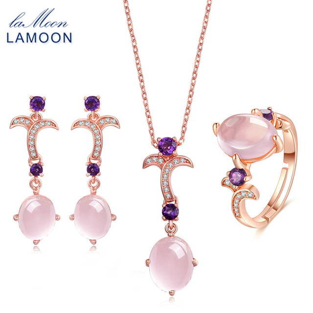 LAMOON Gemstone Pink Rose Quartz 925 Sterling Silver Jewelry Rose Gold Plated Jewelry Set Necklace Earring Ring Women Set V025-1