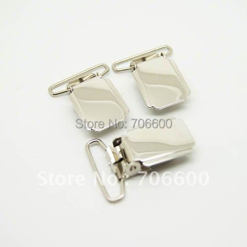 200pcs/lot bright nickel pacifier suspender clips wholesale square chupeta wonder sewing clips