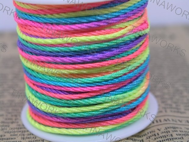 FREE SHIPPING 45Yard Neon/Rainbow Color of Size 1.5mm Chinese Braid Cord for Necklace Bracelet Beading Cord