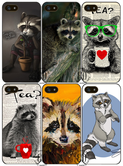 Raccoon tea time cover case for Huawei P7 P8 P9 p10 p20 p30 mate 8 9 10 20 pro lite Honor 8 9 10