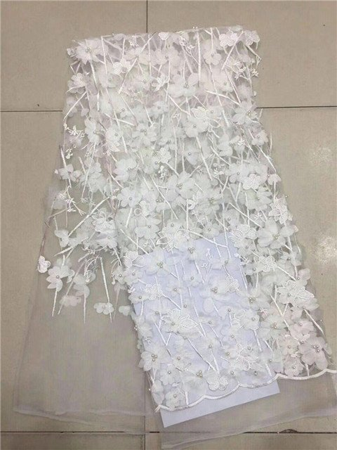 white African Material Beaded Lace Fabric For Wedding,3D flowers White African Lace Fabric 2018 High Quality Lace Royal Blue