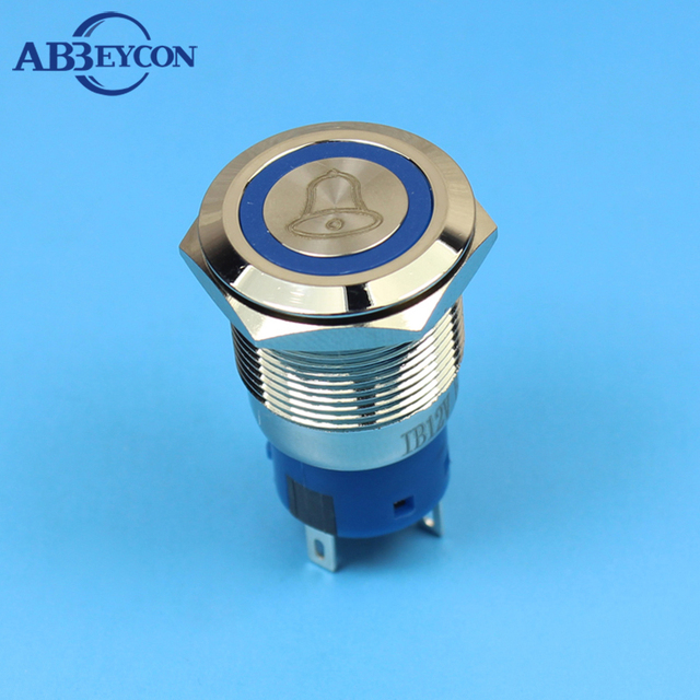 ABBEYCON latching 19mm push button switch doorbell logo illuminated flat head 1NO1NC metal button bell switch