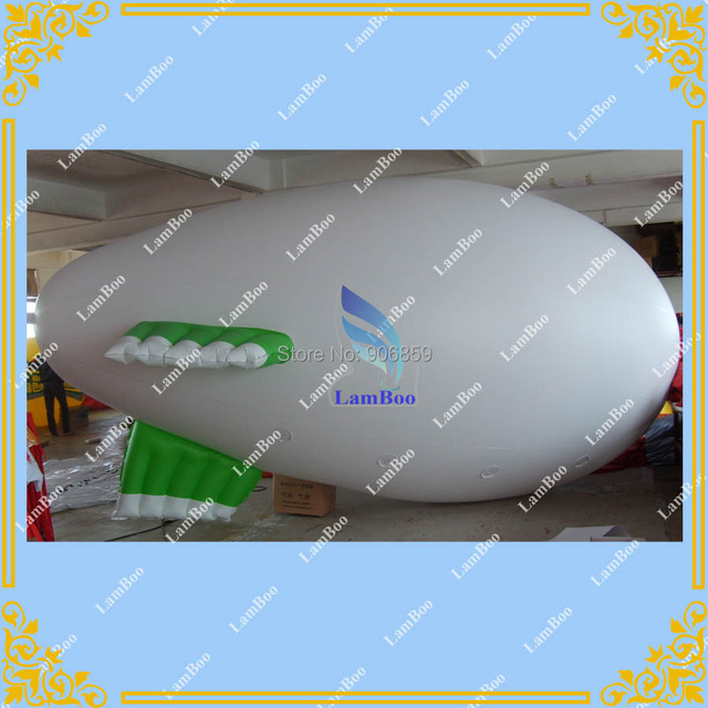 NEW DESIGN 5m/16.4ft Long White Inflatable Blimp with white mixed green color Fins/ DHL Free Shipping