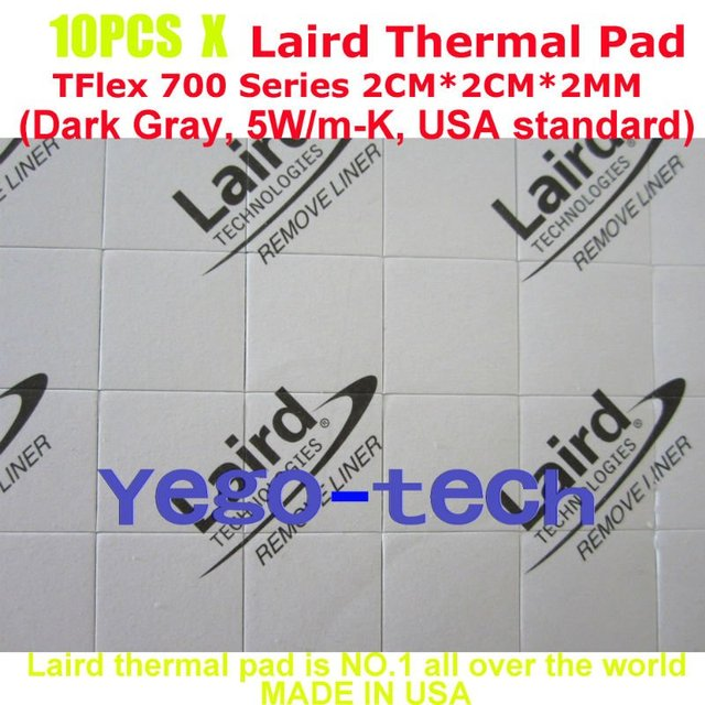 Free Shipping + Best Quality 5.0 W/m-K, Thermal Pad 2CM*2CM*2MM, Laird Tflex 700 Series Gap Filler Material