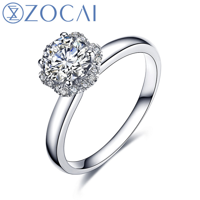 ZOCAI Bridal Bouquet Natural Real 0.35 CT Certified F-G/SI Round Cut Diamond Engagement Women Ring 18K White Gold (AU750) W04490