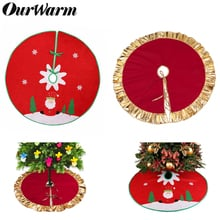 OurWarm 90cm Christmas Tree Skirt Santa Claus Red Gold Frame Tree Rug Skirt New Year 2019 Merry Christmas Party Decoration