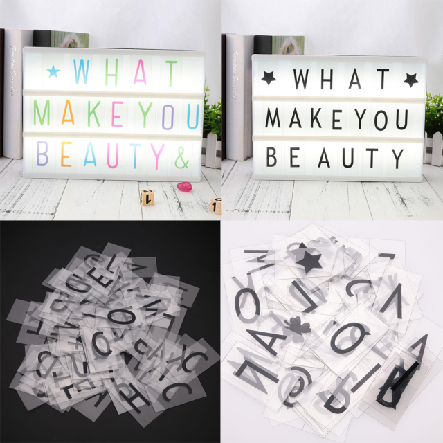 85pcs Replacement Letter And Number Symbol A4 Up Frame Letter Card Signature LED Light Box Card Movie Board Light Box Card