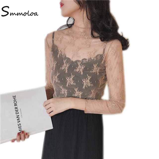 Smmoloa Women Sexy Mesh See-through Long-sleeve Lace Tops 2018 New Spring Arrival Blouse