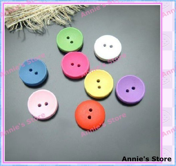Wholesale garment accessories, wood buttons / wooden button,  round, 14.5mm, 2 holes, mixed colors, Free Shipping!