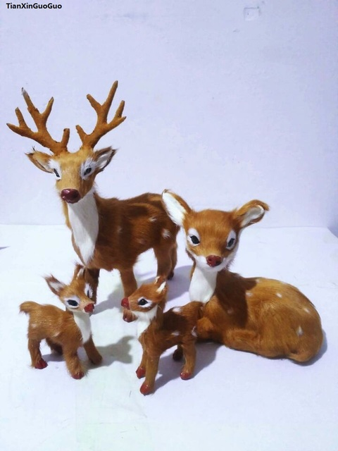 polyethylene&real furs deers handicraft simulation sika deer one family members/ 4 pieces hard model home decoration gift s1555