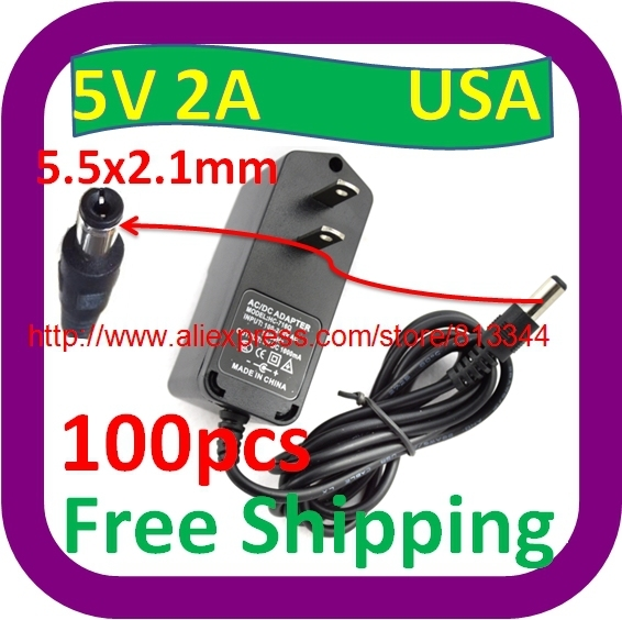 100 pcs AC 100-240V to DC 5V 2A Switching Power Supply Converter Adapter USA Plug 10w