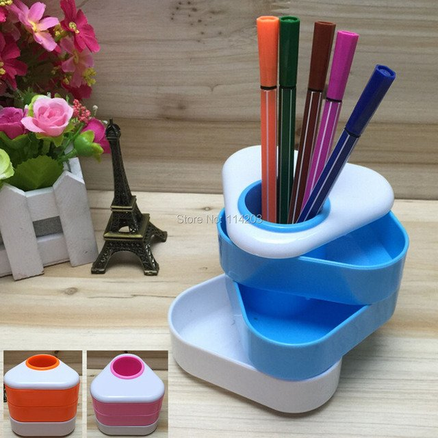 Plastic Triangle Pen Holder Multilevel Desk Stationery Tidy Three colors option Color box packing for Office Accessories Pen Box