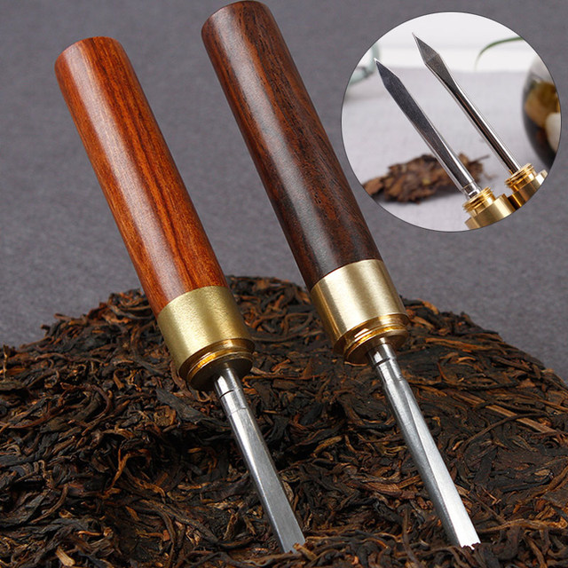 Stainless Steel Tea Knife Needle Pick with Wood Handle Puer Tea Tools Cone Needle Breaking Prying Tea Brick Professional Tool