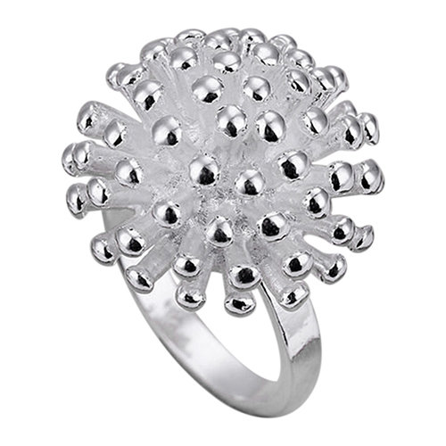 Bluelans New Design Women's Fashion Silver Plated Fireworks Daisy Pattern Ring Wedding Jewelry Gift