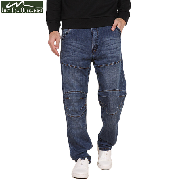 2017 New Fashion Winter Jeans Men Spliced Loose Straight  Denim Pants Male Casual Soft Comfortable Elastic Trousers Plus Size