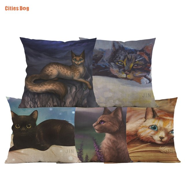 animal Cat pillow covers decorative cushion covers for sofa Pillows Painting Art Cats pillowcase cushions cover home decor