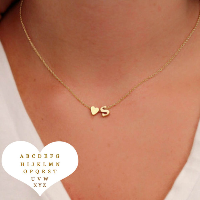Fashion Tiny Heart Dainty Initial Letter Name Necklaces Choker Chain Necklace For Women Gold Color Pendant Jewelry Gift Collier