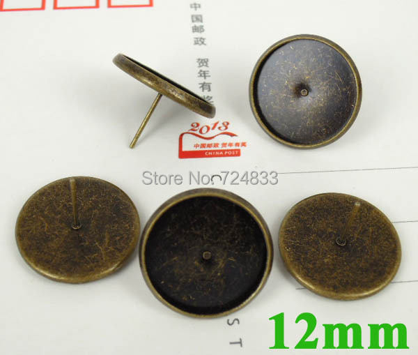 12mm Vintage Antique Bronze plated Blank Earrings Bases Round Bezel Tray Cabochon Stud Earrings post Settings Findings Wholesale