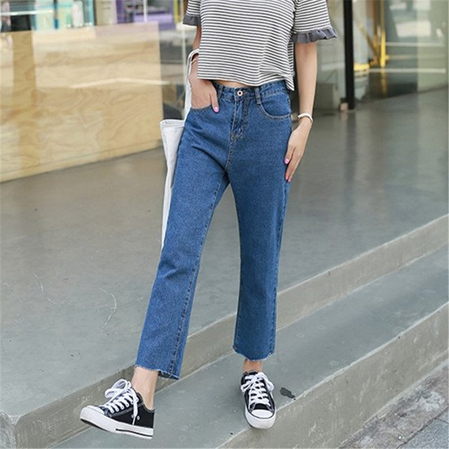BF Style High Waist Wide Leg Pants Korean Autumn Fashion Solid Zipper Fly Women Jeans Plus Size Casual Loose Denim Pants 63094