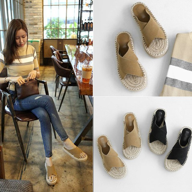Cross Band Woman Flip Flops Roman Style Slippers Woman Beach Shoes Slides Espadrilles Shoes Ladies Flip Flops Chausssure Femme