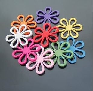 Wholesale wood flower, colorful flower beads, wood beads, wood rose,45MM,  Free Shipping!