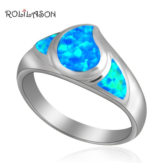Popular Anniversary gifts design Blue fire Opal silver plated Rings fashion jewelry USA size#6.75 #7.5 OR433
