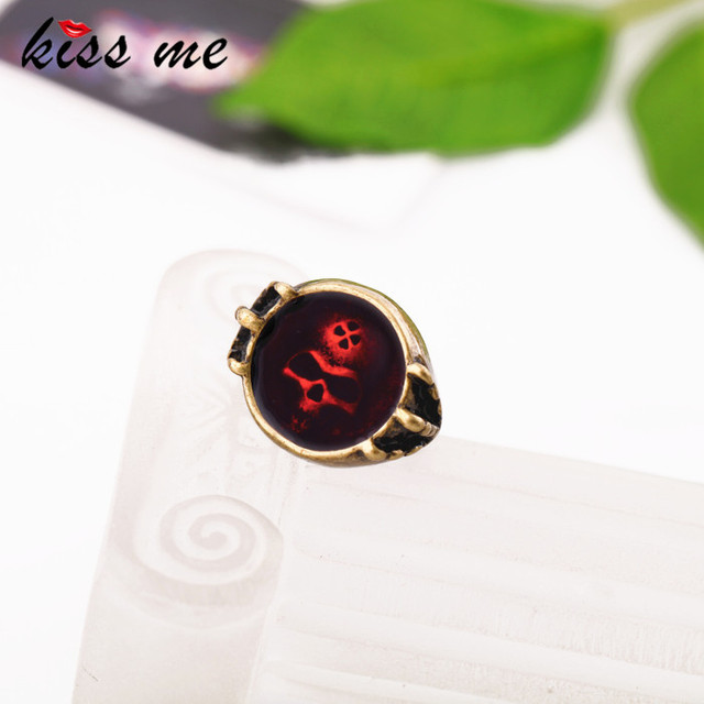Fashion accessories red oil embedded women's personality vintage skull ring Factory Wholesale