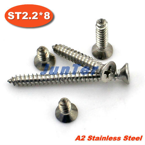 1000pcs/lot DIN7982 ST2.2*8 Stainless Steel A2 Phillips Cross Recessed Countersunk Self Tapping Screw
