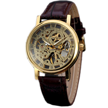 New Gift Product Winner Classic Gold Skeleton Wristwatch Mechanical Hand Wind Men's Leather Ancient Watches Vintage Clock