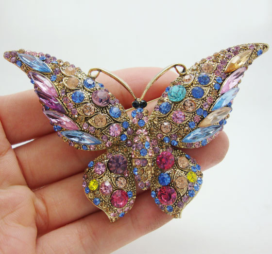 Vintage Butterfly Brooch Classic Colorful Rhinestone Crystal Butterfly Gold-Tone Brooch Pin
