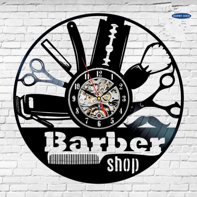 duvar saati Creative Vinyl Wall Clock Gift Idea for Barber Hair Beauty Salo Coiffeur Salon Hairstyle Art decor Clock Design