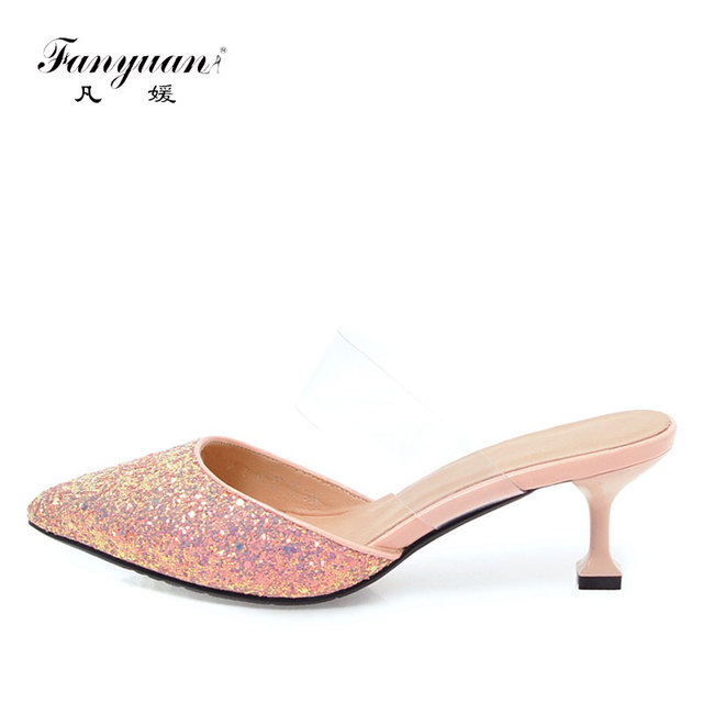 2018 Fanyuan New Arrivals Women's high heels Slip-on Mules shoes Transparent Ladies Shoes Pointed toe sexy ladies dress shoes