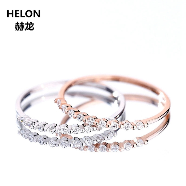 0.09ct SI/H Full Cut Natural Diamonds Engagement Wedding Ring Solid 14k White Gold Rose Gold Anniversary Band Women Fine Jewelry