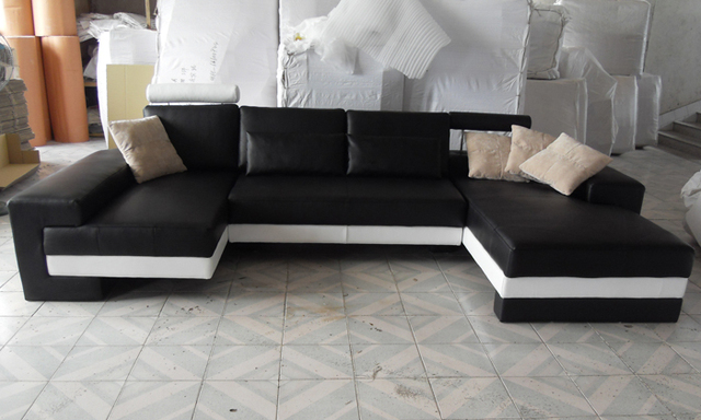 Sofa Free Shipping 2015 New Modern Design Large Size Sofa U Shaped Couches Real Leather Corner Sofa Home Furniture  LC9102