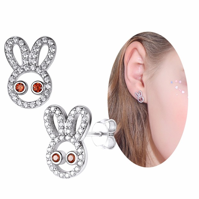 SILVERCUTE Rabbit Stud Earrings For Women Girls Animal Bunny Earring Gift Authentic 925 Sterling Silver Fine Jewelry SCE6449B
