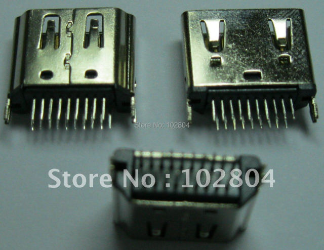 600 Pcs Per Lot HDMI Female Jack Connector 19 pin 180 Degree 2 Row