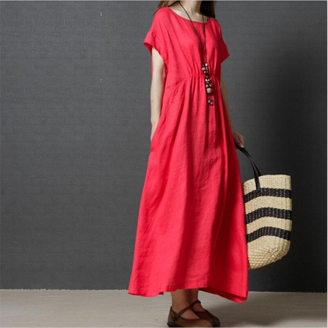 Cotton And Linen Dress Solid 4 Color Pleated Comfortable Short Sleeves Loose Large Size Casual Women Summer And Spring