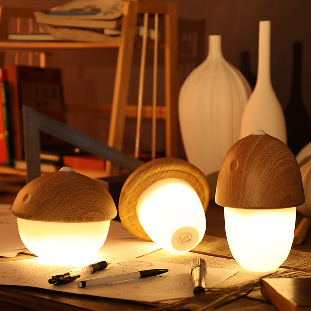Modern Desk Lamp USB Rechargeable Mushroom Olive Acorn Dimmable LED Light Touch Switch Reading Table Lamps Night Light
