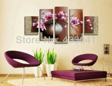 2013 Hand Painted Flowers Painting Oil Canvas Landscape Beautiful 5 Panel Wall Art Home Decor Modern Abstract Picture Set