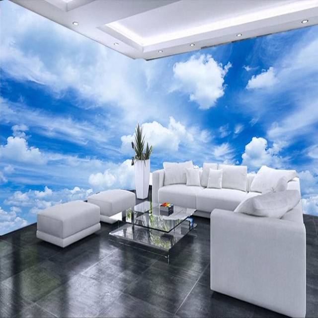 Customized Any Size 3D Mural Wallpaper Blue Sky White Clouds Wall Painting Living Room Sofa Background Wallpaper Mural Art