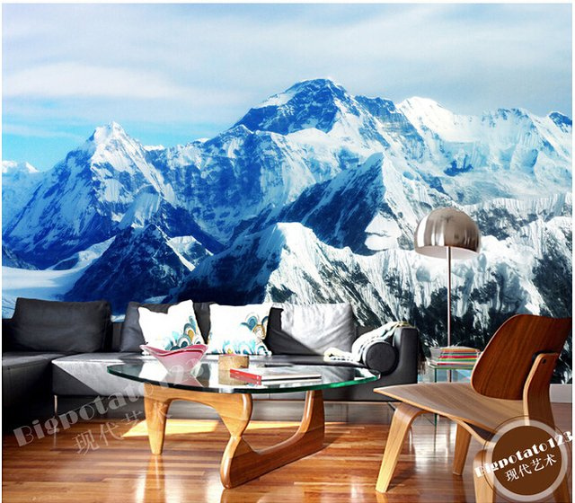 The latest 3D murals, the Mount Qomolangma ice mountain scenery de parede Papel, the living room TV sofa bedroom wall paper